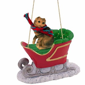 Brown Tabby Scottish Fold Sleigh Ride Ornament