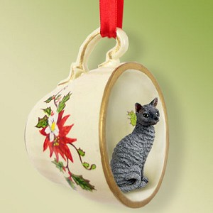 Blue Cornish Rex Tea Cup Red Holiday Ornament