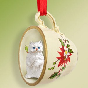 White Persian Tea Cup Red Holiday Ornament