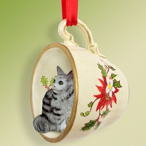Silver Tabby Maine Coon Cat Tea Cup Red Holiday Ornament