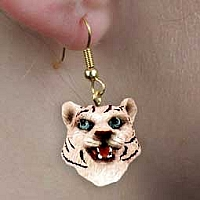 Tiger White Earrings Hanging
