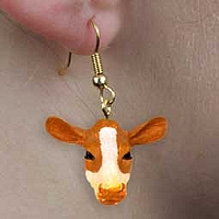 Guernsey Cow Earrings Hanging