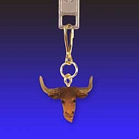 Long Horn Steer Zipper Charm