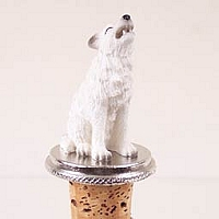 Wolf White Bottle Stopper