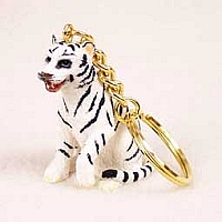 Tiger White Key Chain