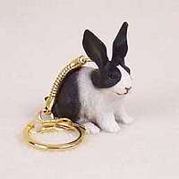 Rabbit Black & White Key Chain