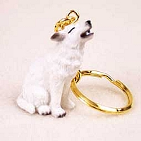 Wolf White Key Chain