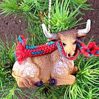 Long Horn Steer Original Ornament