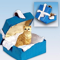 Red Shorthaired Tabby Cat Gift Box Blue Ornament