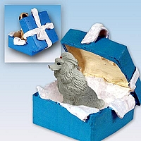 Poodle Gray Gift Box Blue Ornament