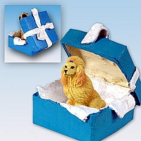 Poodle Apricot Gift Box Blue Ornament