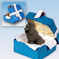 Poodle Chocolate Gift Box Blue Ornament