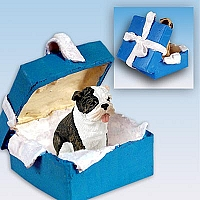 Bulldog Brindle Gift Box Blue Ornament
