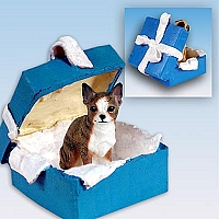 Chihuahua Brindle & White Gift Box Blue Ornament