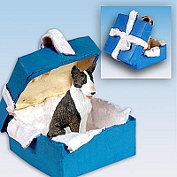 Bull Terrier Brindle Gift Box Blue Ornament