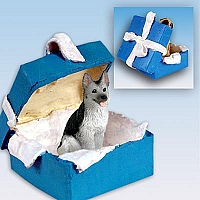 German Shepherd Black & Silver Gift Box Blue Ornament