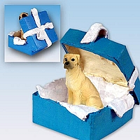 Great Dane Fawn w/Uncropped Ears Gift Box Blue Ornament