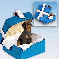 Doberman Pinscher Red w/Uncropped Ears Gift Box Blue Ornament