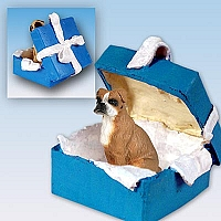Boxer w/Uncropped Ears Gift Box Blue Ornament