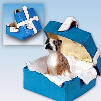 Boxer Brindle w/Uncropped Ears Gift Box Blue Ornament