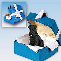 Schnauzer Black w/Uncropped Ears Gift Box Blue Ornament