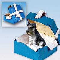 Schnauzer Gray w/Uncropped Ears Gift Box Blue Ornament