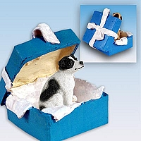 Jack Russell Terrier Black & White w/Smooth Coat Gift Box Blue Ornament