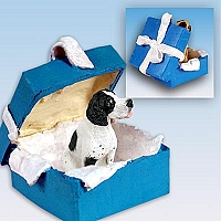 Pointer Black & White Gift Box Blue Ornament