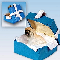 Lhasa Apso Brown Gift Box Blue Ornament