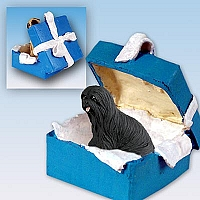 Lhasa Apso Black Gift Box Blue Ornament