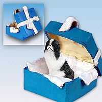 Japanese Chin Black & White Gift Box Blue Ornament