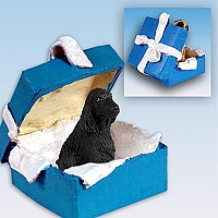 Cocker Spaniel English Black Gift Box Blue Ornament