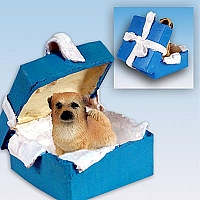 Tibetan Spaniel Gift Box Blue Ornament