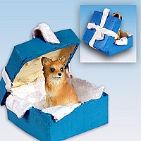 Chihuahua Longhaired Gift Box Blue Ornament