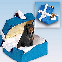 Coonhound Black & Tan Gift Box Blue Ornament