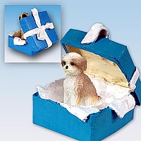 Shih Tzu Tan w/Sport Cut Gift Box Blue Ornament