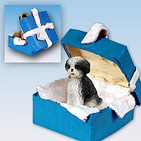 Shih Tzu Black & White w/Sport Cut Gift Box Blue Ornament