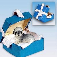 Lhasa Apso Gray w/Sport Cut Gift Box Blue Ornament