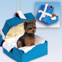 Yorkshire Terrier Puppy Cut Gift Box Blue Ornament