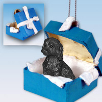 Labradoodle Black Gift Box Blue Ornament