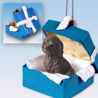 Labradoodle Chocolate Gift Box Blue Ornament