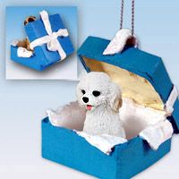 Cockapoo White Gift Box Blue Ornament