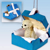 Cockapoo Blond Gift Box Blue Ornament