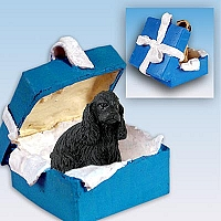 Cocker Spaniel Black Gift Box Blue Ornament