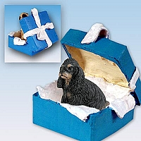 Cocker Spaniel Black & Tan Gift Box Blue Ornament