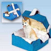 Husky Red & White w/Blue Eyes Gift Box Blue Ornament