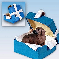 Dachshund Red Gift Box Blue Ornament