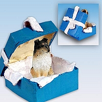 Sheltie Tricolor Gift Box Blue Ornament