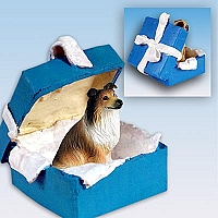 Collie Sable Gift Box Blue Ornament