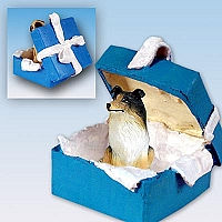 Collie Tricolor Gift Box Blue Ornament